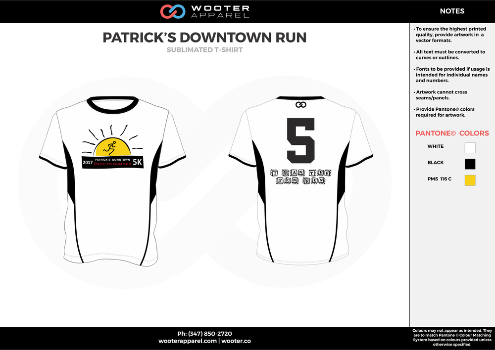 PATRICK'S DOWNTOWN RUN white black yellow custom short sleeve shirts