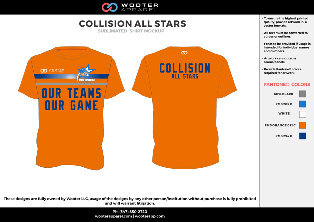 COLLISION ALL STARTS orange blue gray white custom design t-shirts