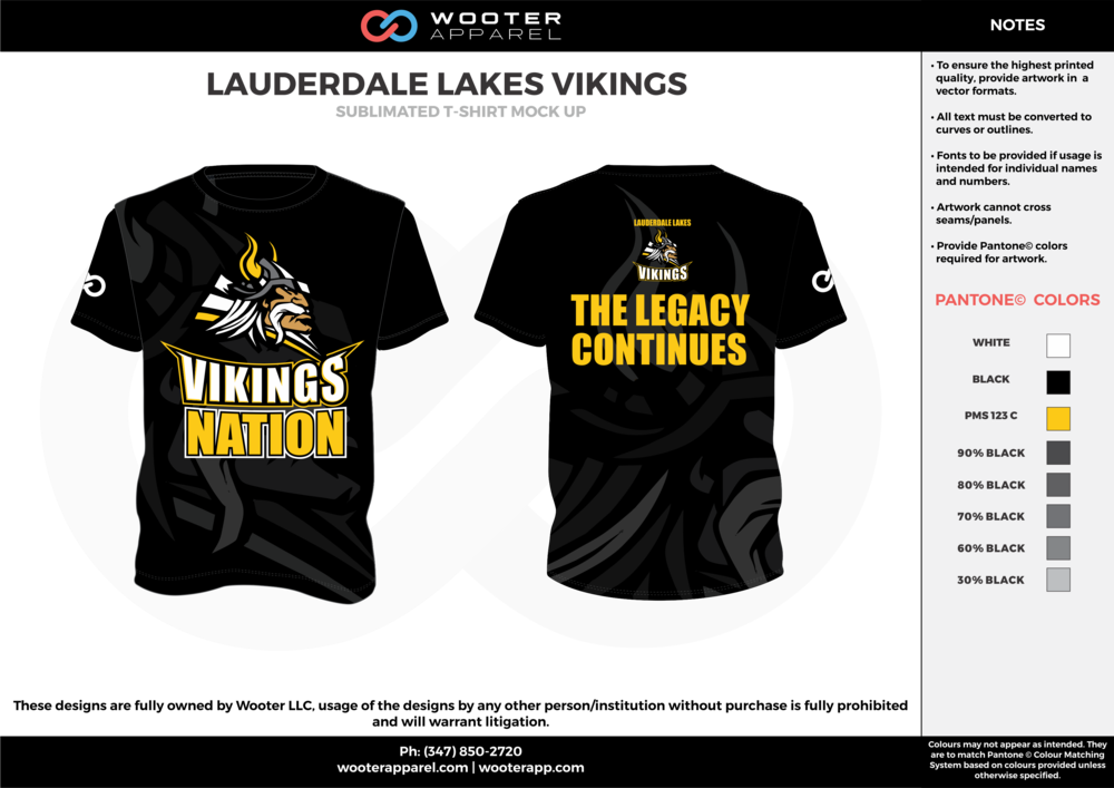 LAUDERDALE LAKES VIKINGS black yellow gray white custom short sleeve shirts