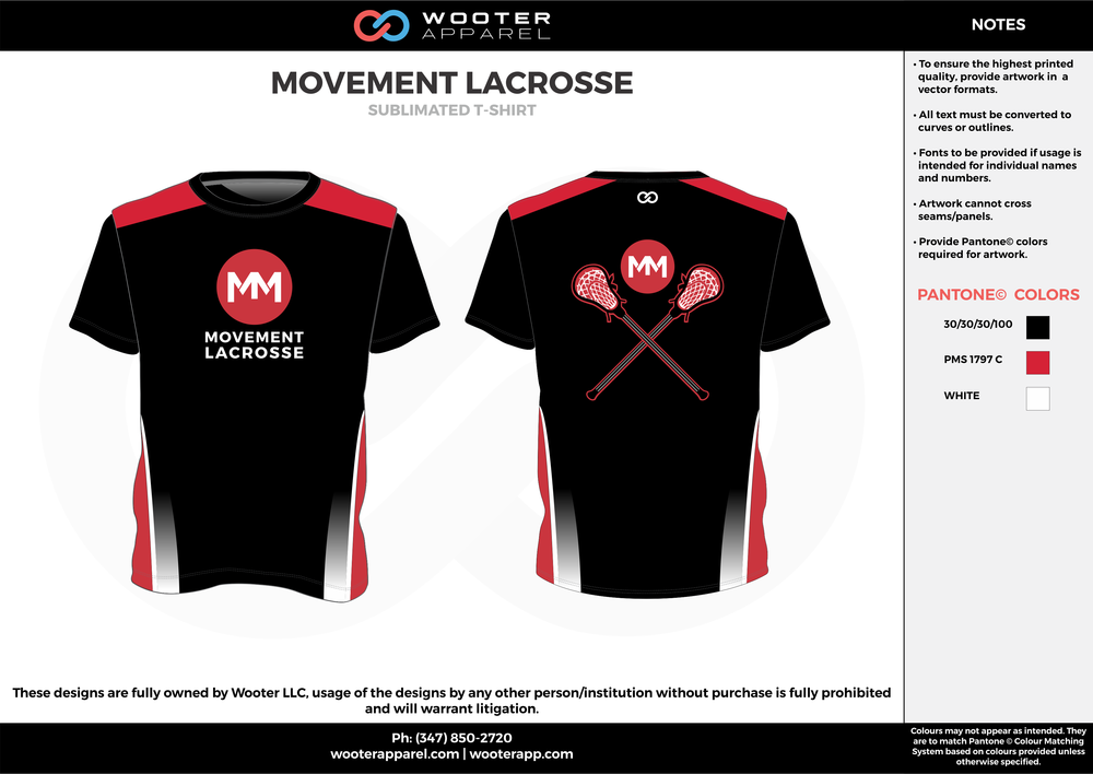 MOVEMENT LACROSSE black red white custom short sleeve shirts