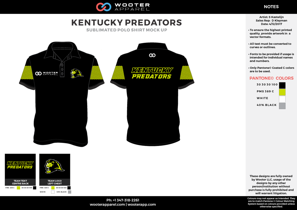 KENTUCKY PREDATORS black green gray white Polo Shirts