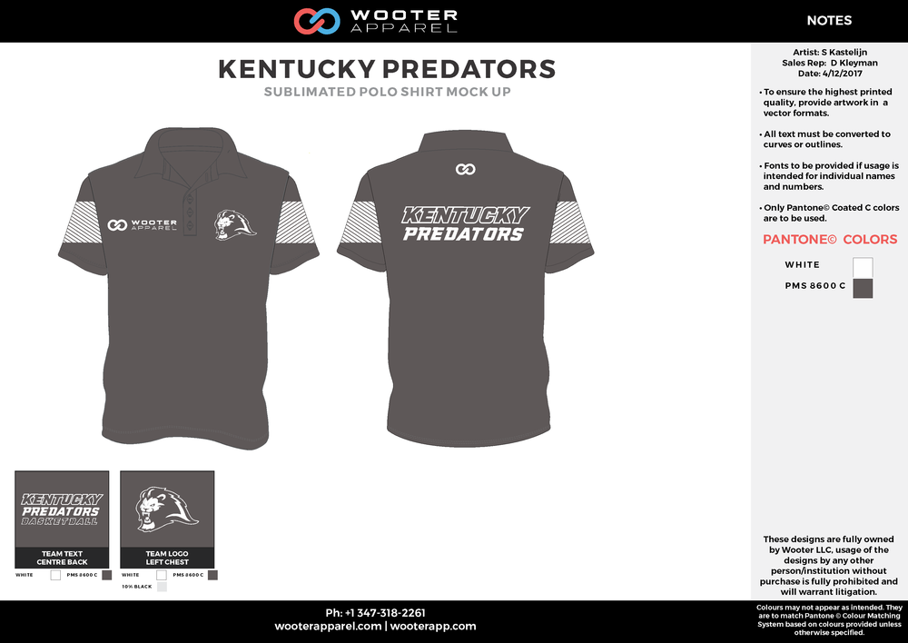 KENTUCKY PREDATORS black white Polo Shirts