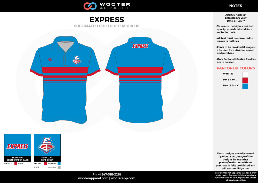 EXPRESS blue red white Polo Shirts