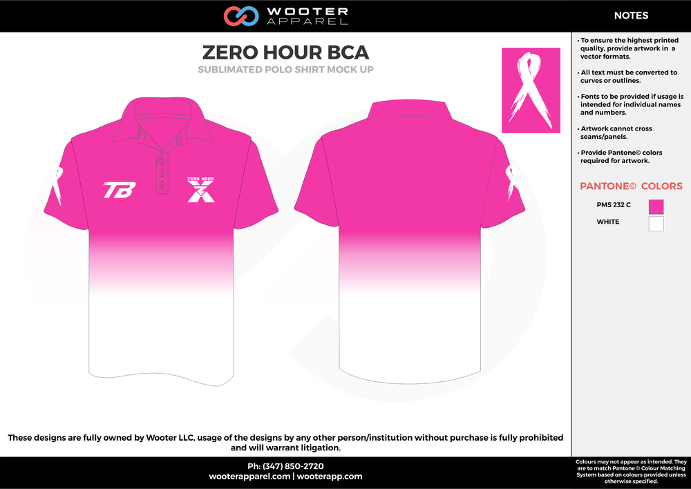 ZERO HOUR BCA pink white Polo Shirts