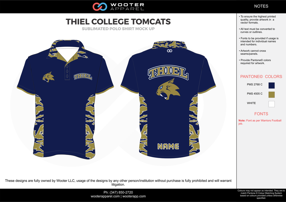 THIEL COLLEGE TOMCATS dark blue khaki white Polo Shirts