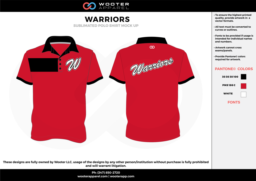 WARRIORS red black white Polo Shirts