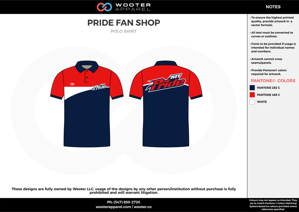 PRIDE FAN SHOP dark blue red white Polo Shirts