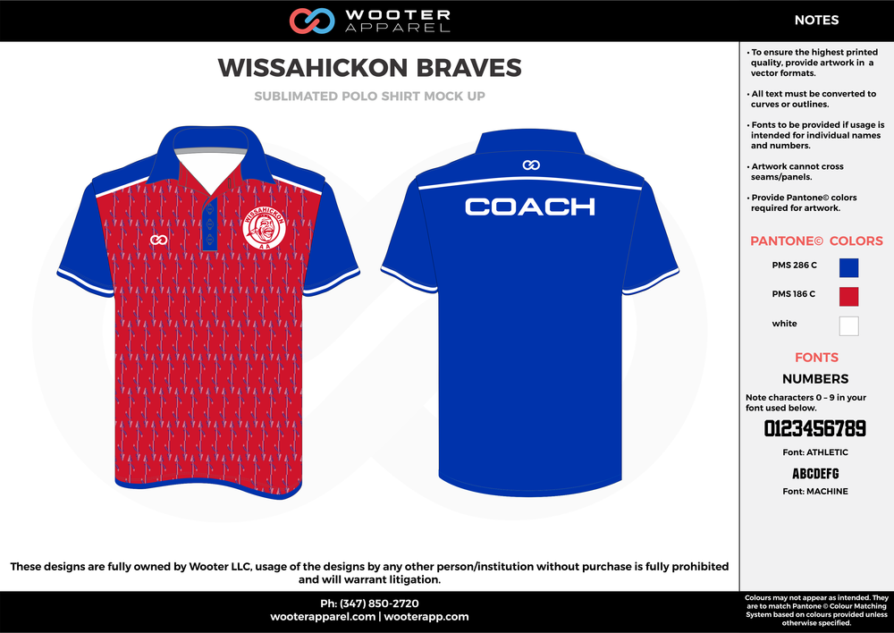 WISSAHICKON BRAVES blue red white Polo Shirts