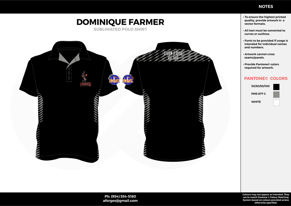 DOMINIQUE FARMER black gray white Polo Shirts