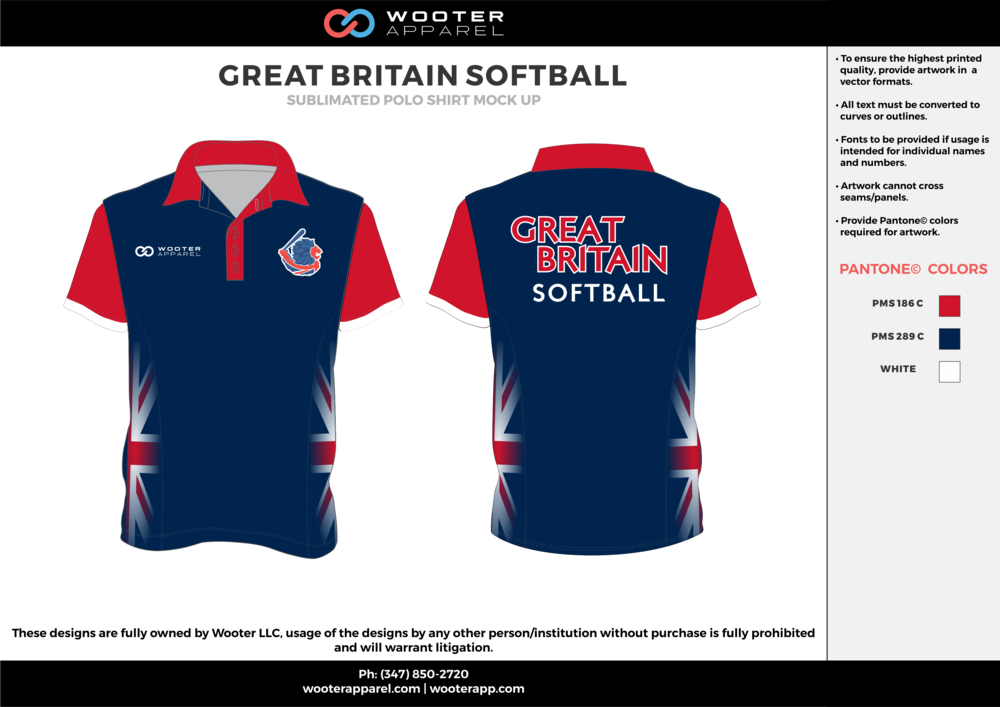 GREAT BRITAIN SOFTBALL red navy blue white Polo Shirts