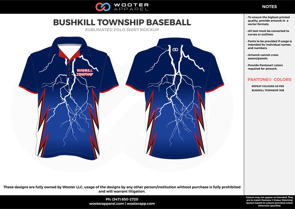 BUSHKILL TOWNSHIP BASEBALL blue red white Polo Shirts