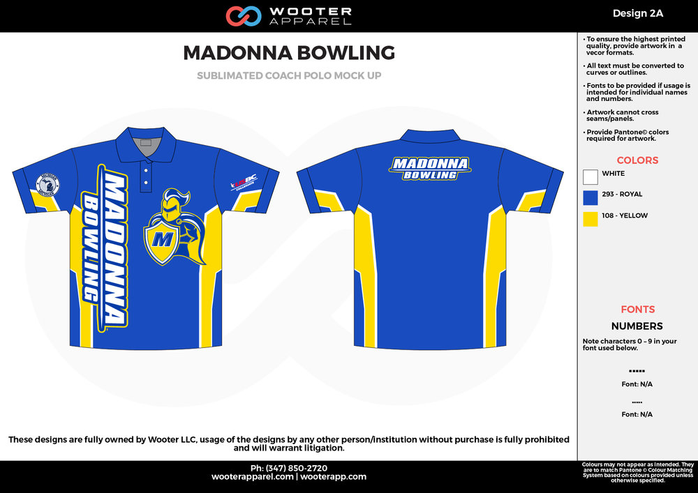 MADONNA BOWLING blue yellow white Polo Shirts