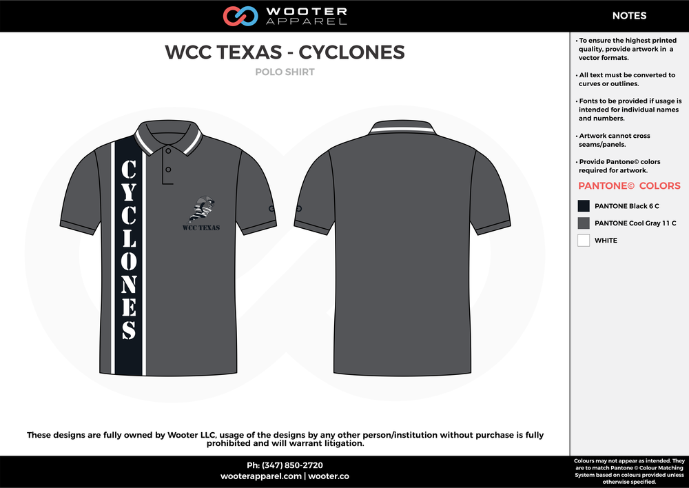 WCC TEXAS - CYCLONES black gray white Polo Shirts