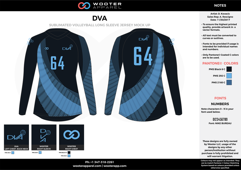 DVA sky dark blue black Volleyball Uniforms, Long sleeve Jerseys, Shorts