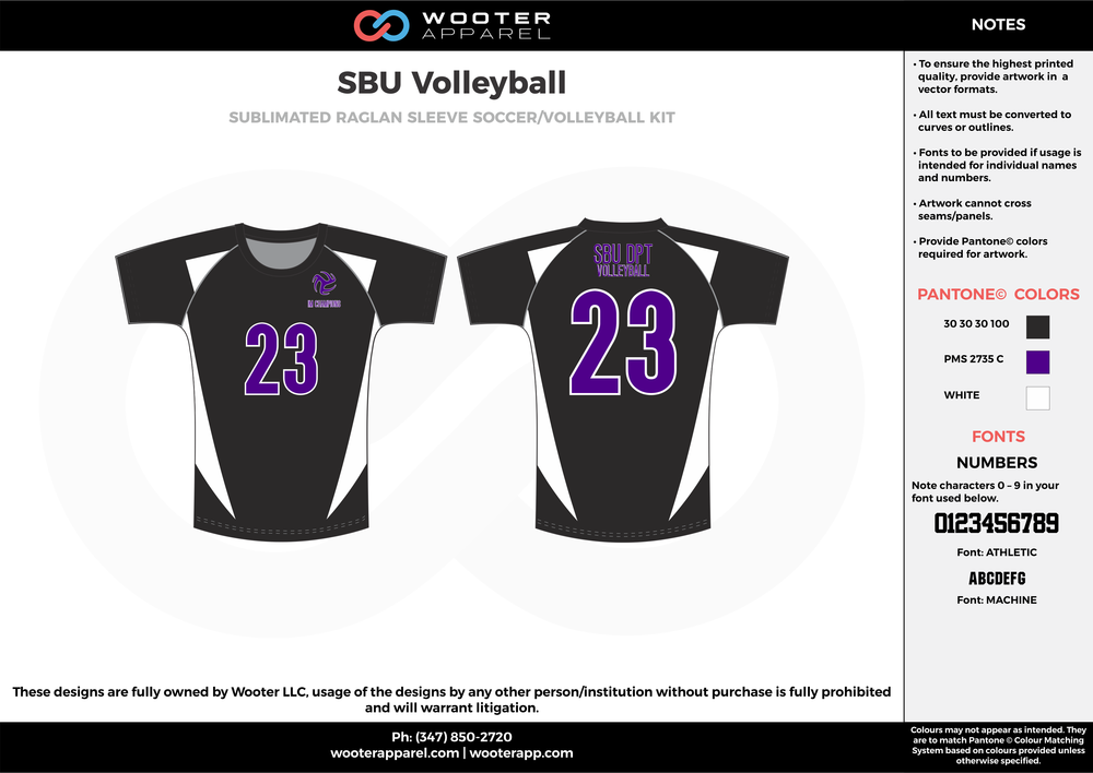 SBU VOLLEYBALL black purple white Volleyball Uniforms, Jerseys, Shorts