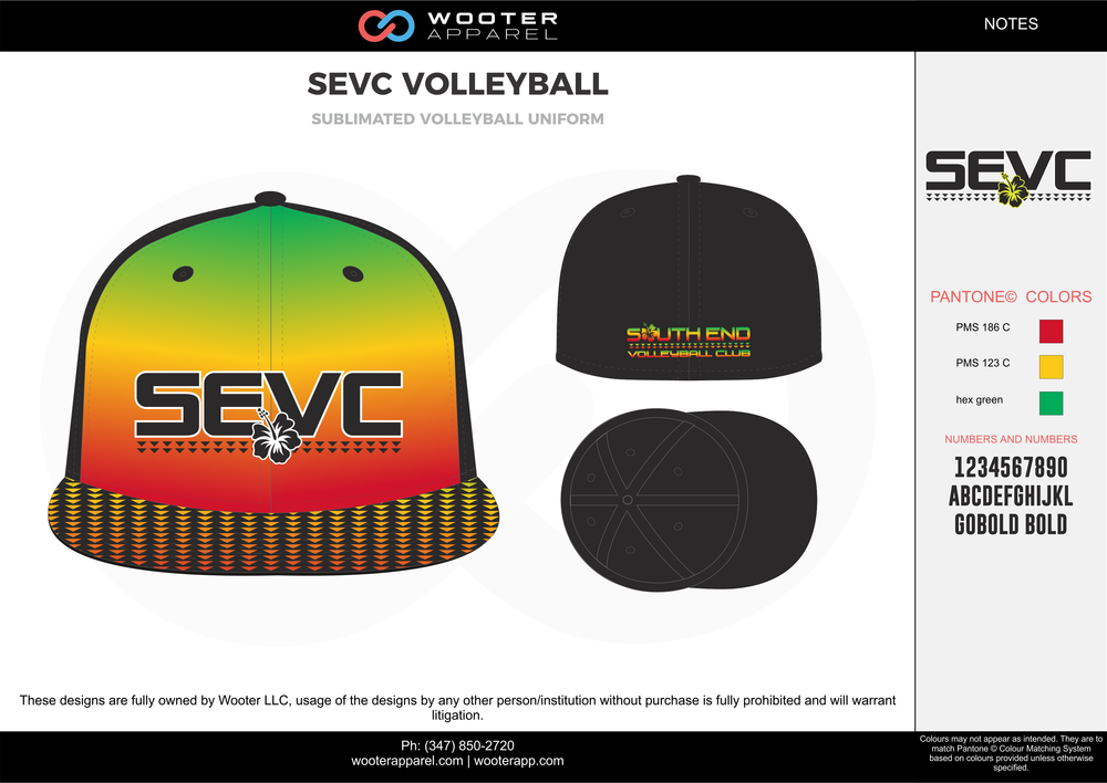SEVC VOLLEYBALL red yellow green black Volleyball Uniforms caps