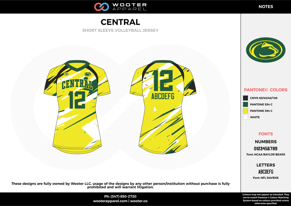 CENTRAL black green yellow white Volleyball Uniforms, Jerseys, Shorts
