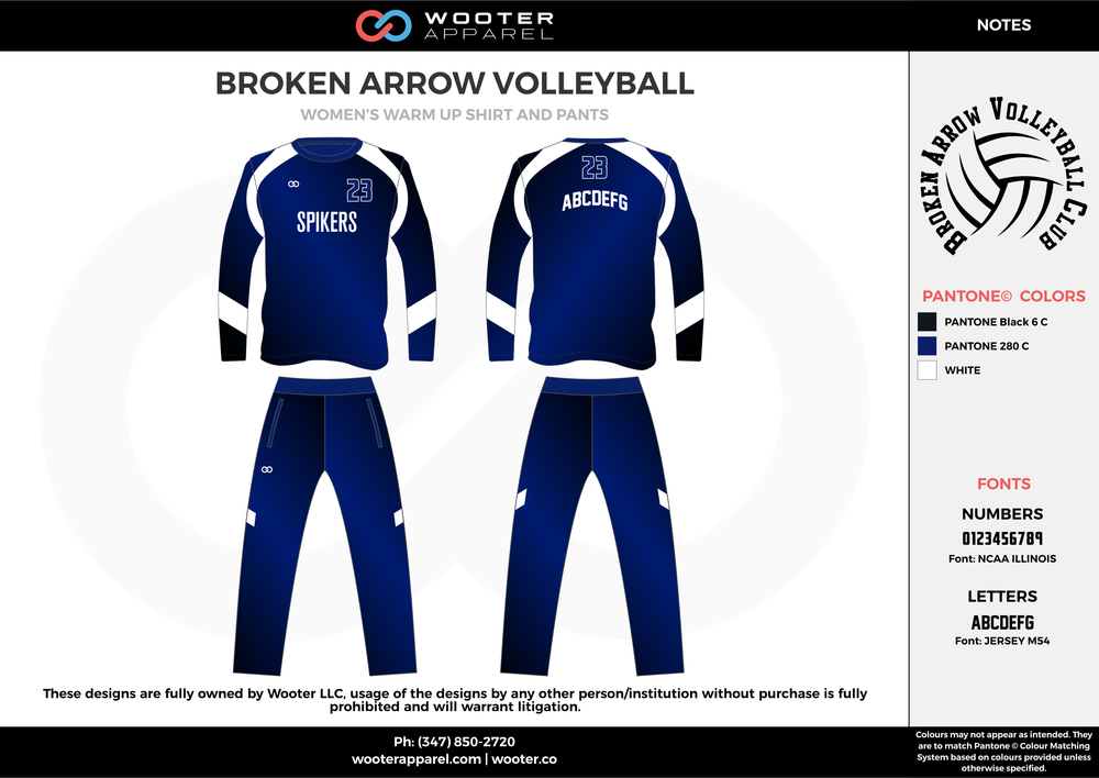 BROKEN ARROW VOLLEYBALL black blue white Volleyball Uniforms, Long Sleeve Jerseys, Pants