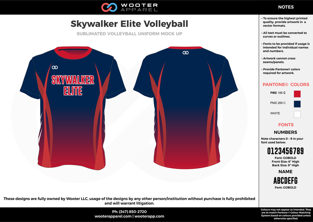 SKYWALKER ELITE VOLLEYBALL red blue white Volleyball Uniforms, Jerseys, Shorts