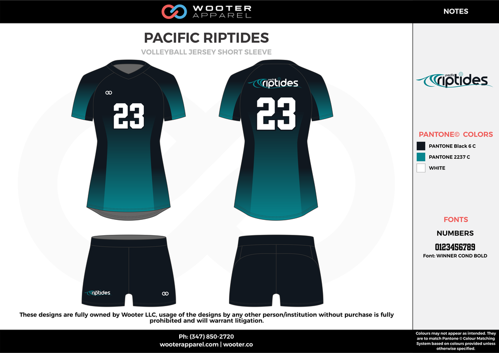 PACIFIC RIPTIDES water blue black white Volleyball Uniforms, Jerseys, Shorts