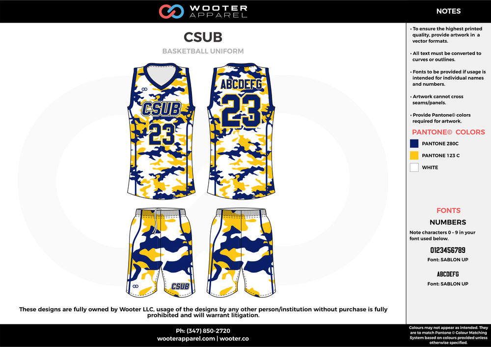 CSUB blue yellow white Volleyball Uniforms, Jerseys, Shorts