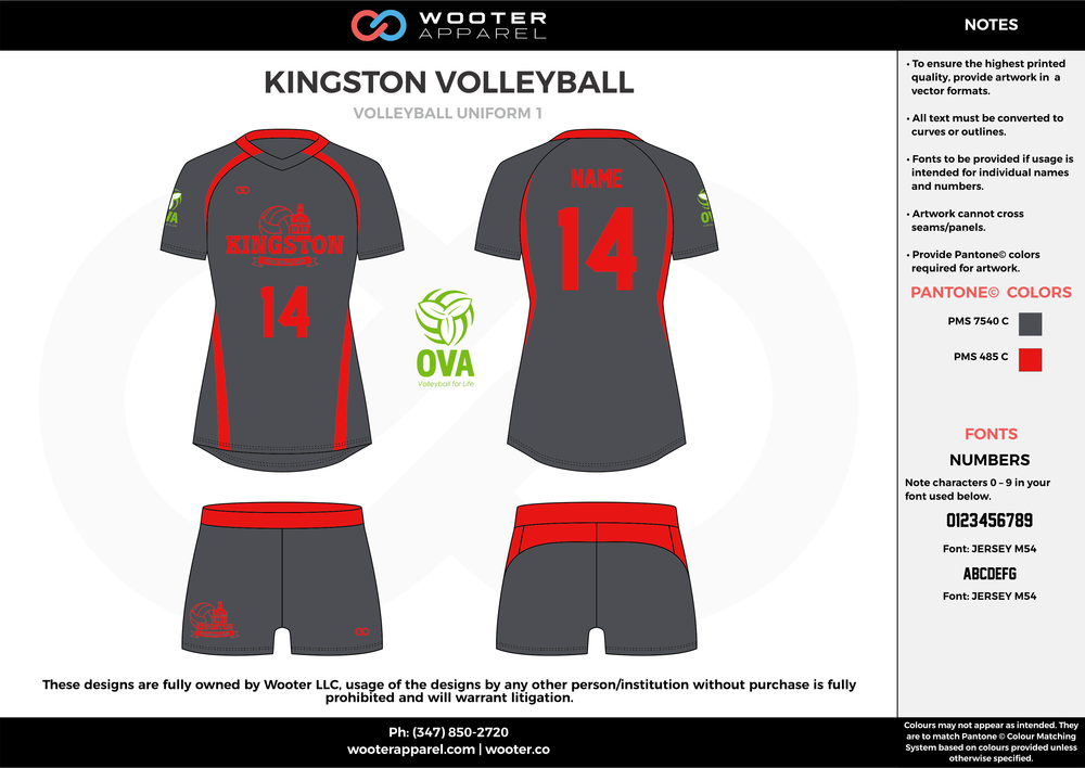 KINGSTON VOLLEYBALL gray red Volleyball Uniforms, Jerseys, Shorts