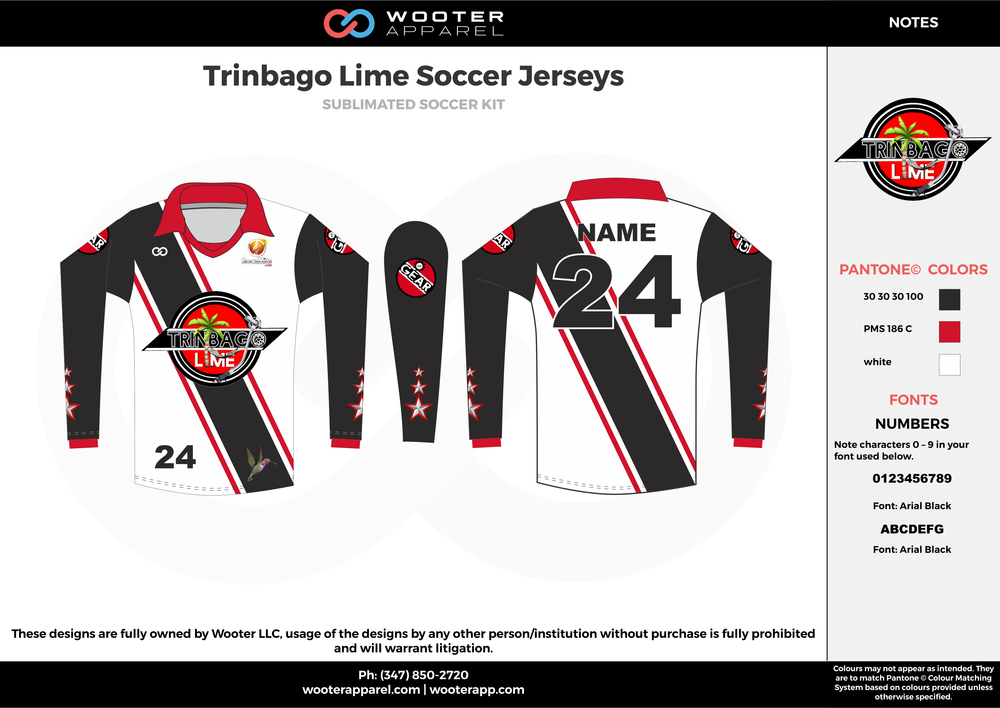 Trinbago Lime black white red custom sublimated soccer uniform jersey shirt