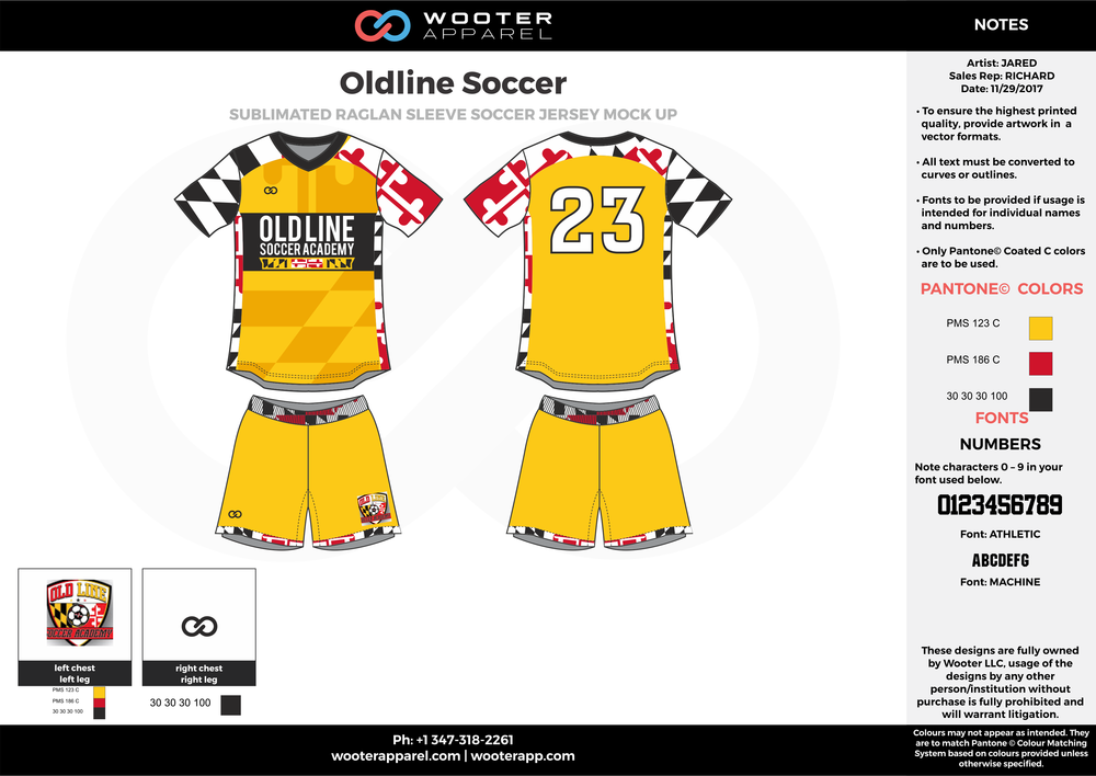 Oldline yellow black red custom sublimated soccer uniform jersey shirt shorts