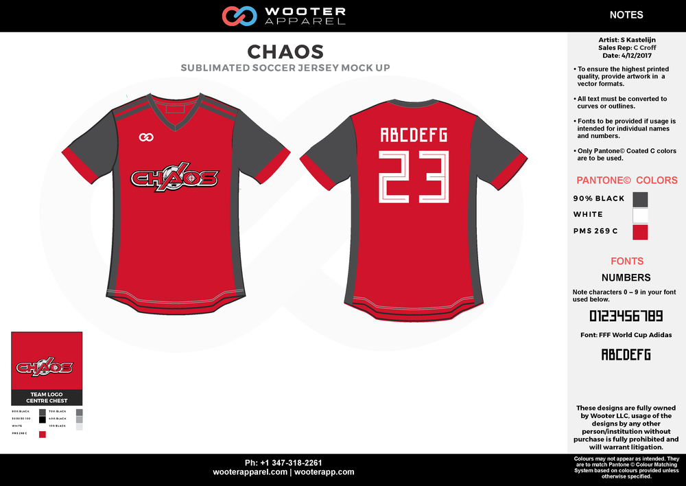 CHAOS red gray white custom sublimated soccer uniform jersey shirt