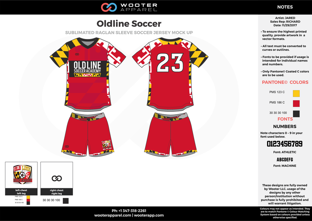Oldline red yellow black white custom sublimated soccer uniform jersey shirt shorts