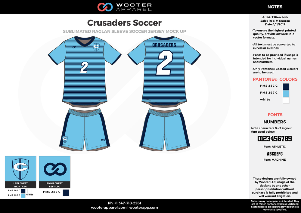 Crusaders blue black white custom sublimated soccer uniform jersey shirt shorts