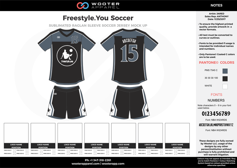 Freestyle black gray white custom sublimated soccer uniform jersey shirt shorts