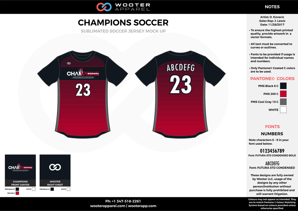 CHAMPIONS red black gray custom sublimated soccer uniform jersey shirt