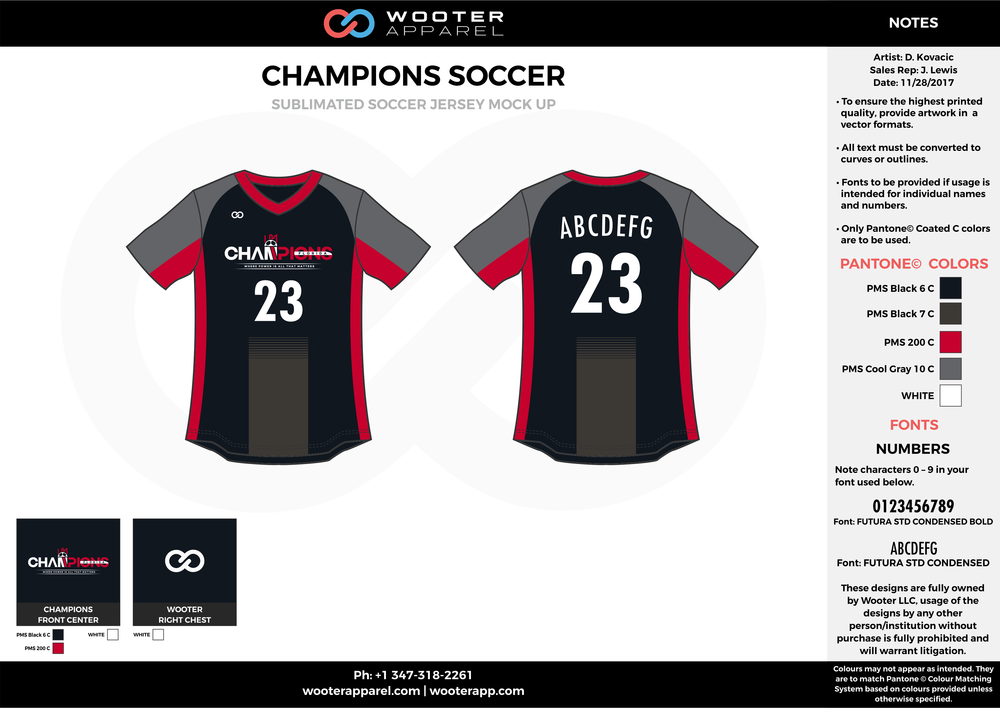 CHAMPIONS gray black red custom sublimated soccer uniform jersey shirt