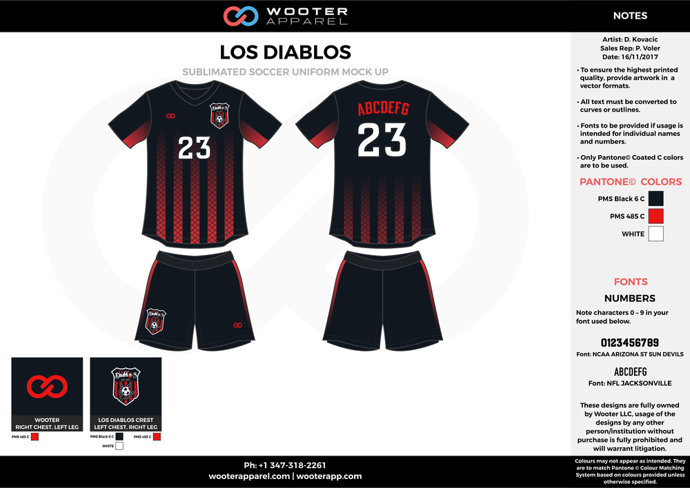 LOS DIABLOS black red white custom sublimated soccer uniform jersey shirt shorts
