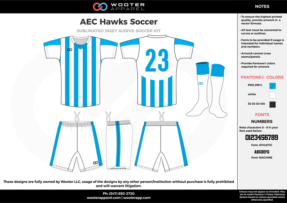 AEC Hawks blue white custom sublimated soccer uniform jersey shirt shorts socks