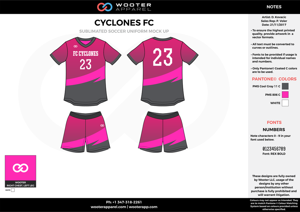 CYCLONES FC gray pink white custom sublimated soccer uniform jersey shirt shorts