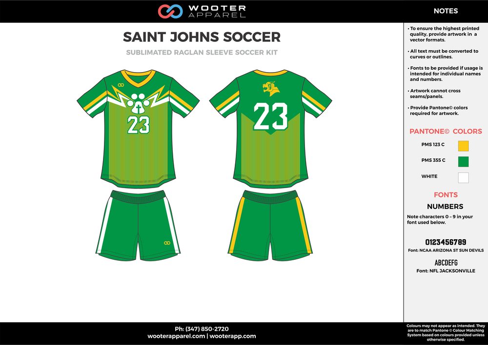 SAINT JOHNS green yellow white custom sublimated soccer uniform jersey shirt shorts