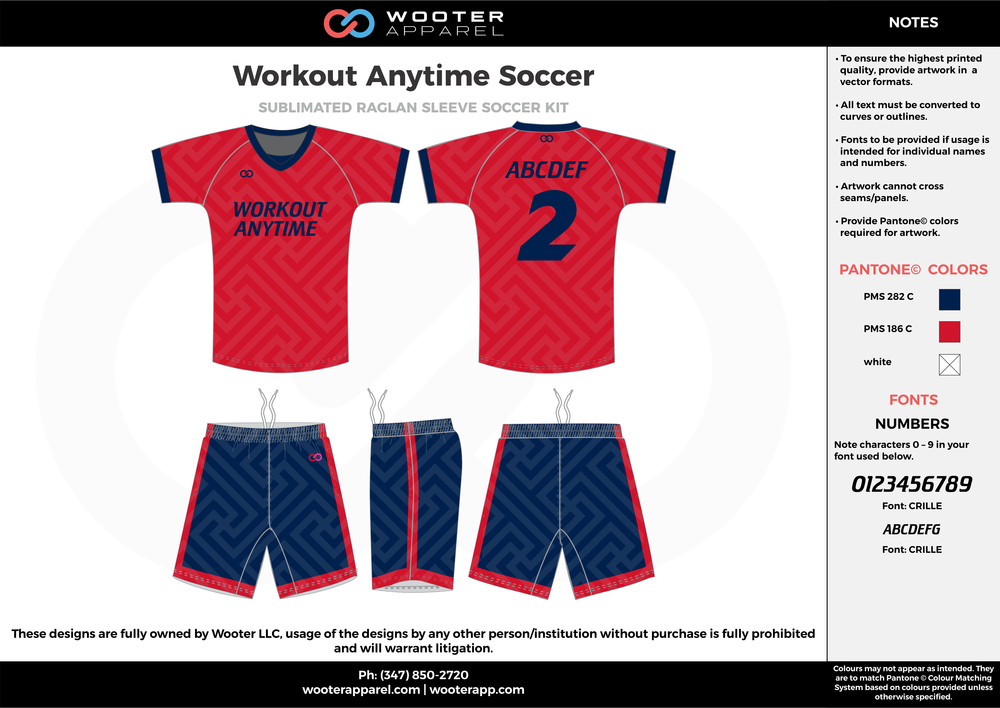Workout Anytime red navy blue custom sublimated soccer uniform jersey shirt shorts