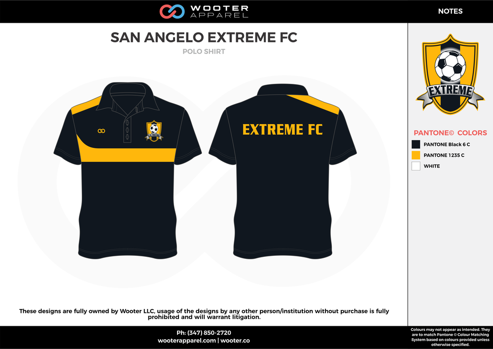 SAN ANGELO EXTREME FC black yellow custom sublimated soccer uniform jersey shirt