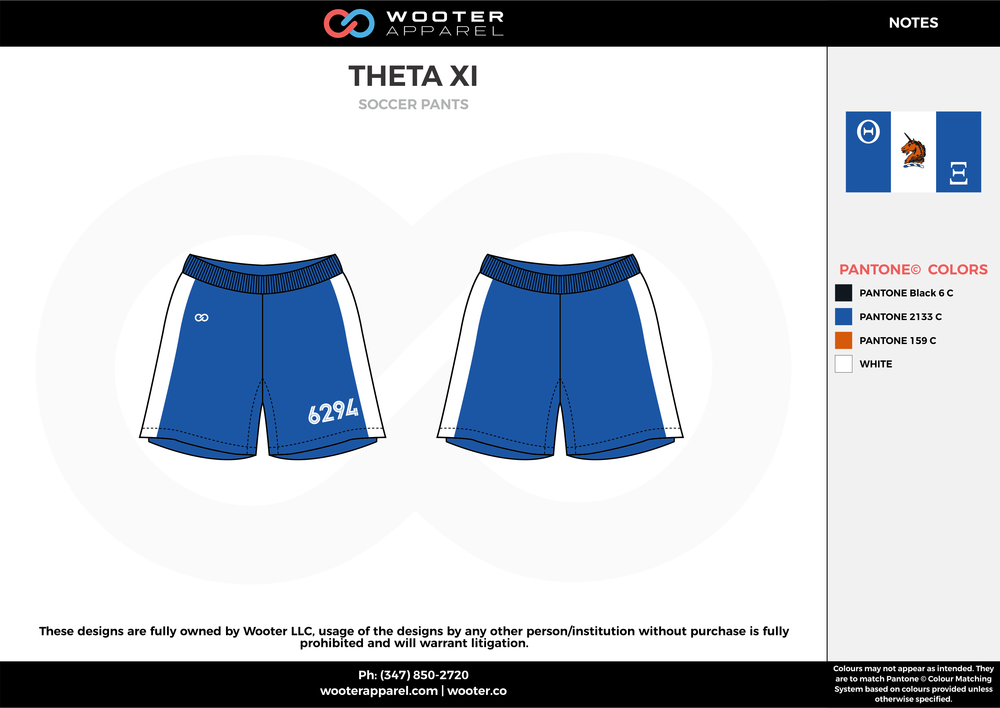 THETA XI blue white custom sublimated soccer uniform jersey shorts