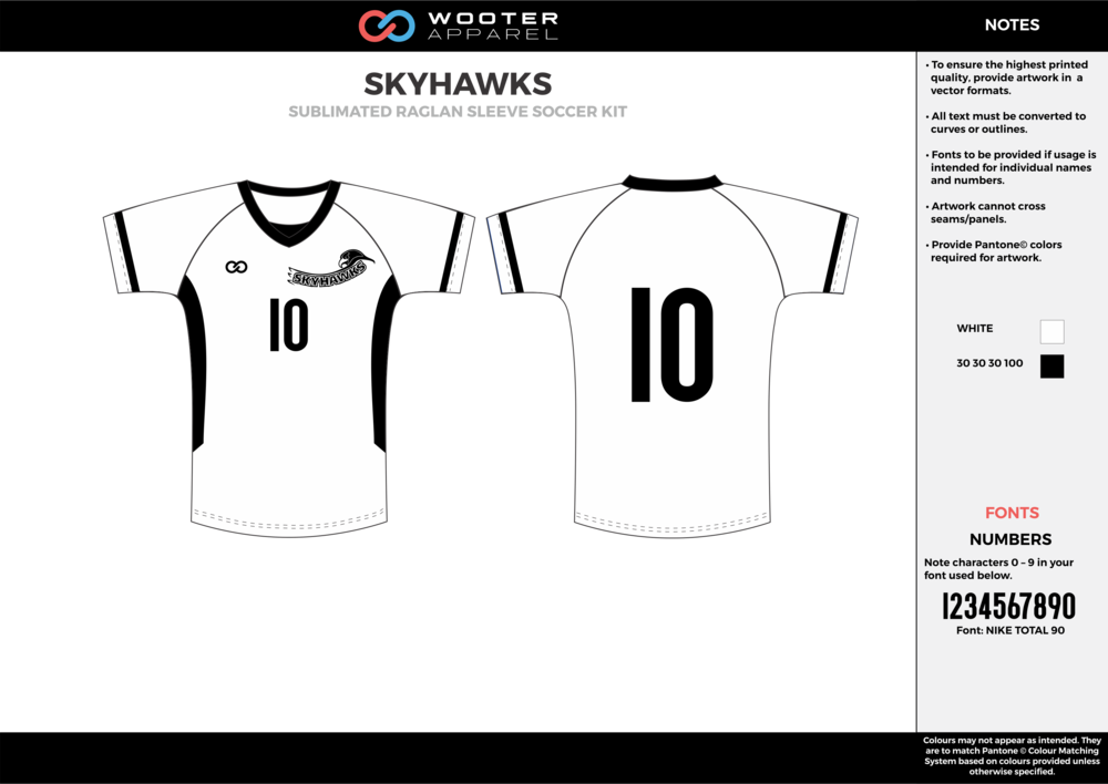 SKYHAWKS white black custom sublimated soccer uniform jersey shirt