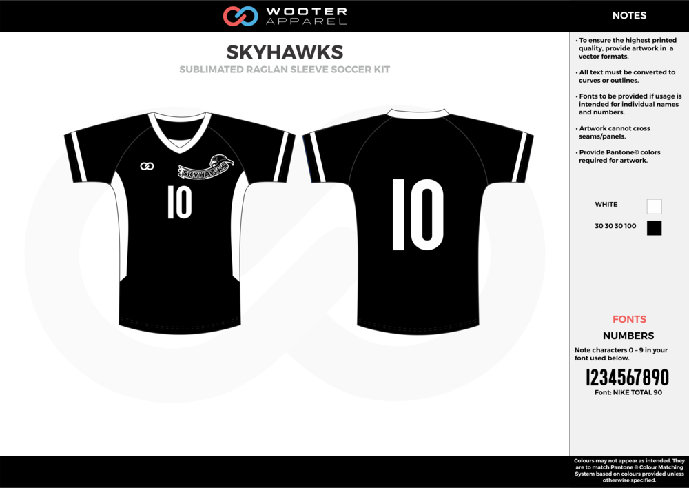 SKYHAWKS black white custom sublimated soccer uniform jersey shirt