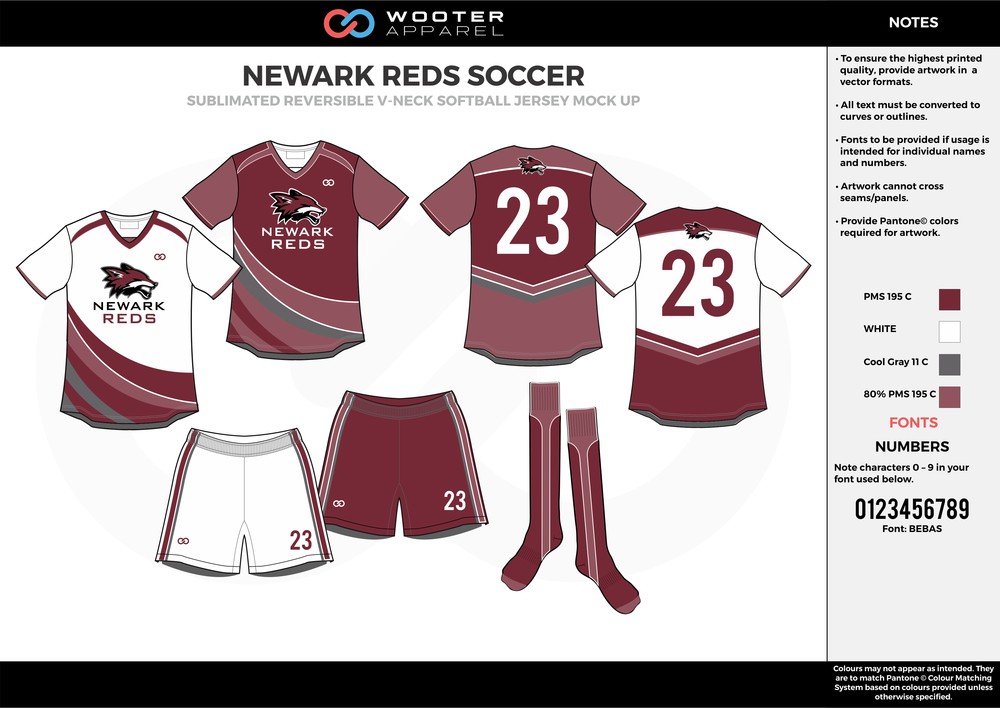 NEWARK REDS white wine red gray custom sublimated soccer uniform jersey shirt shorts socks