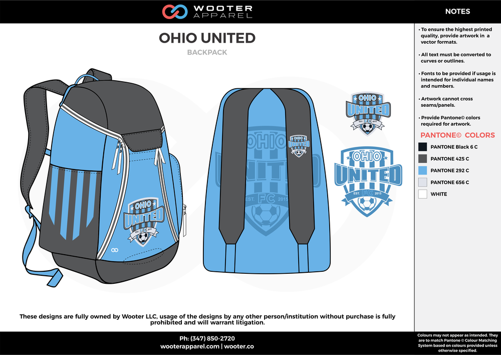 OHIO UNITED blue gray custom sublimated soccer backpack