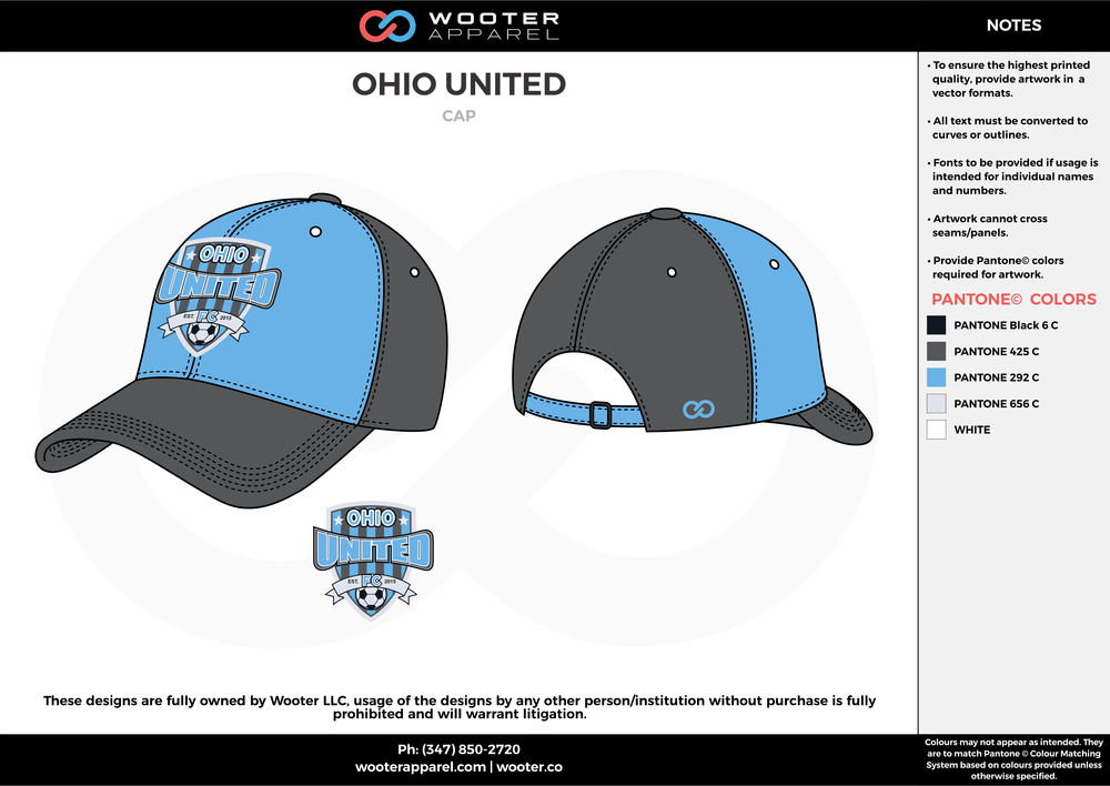 OHIO UNITED blue gray custom sublimated soccer cap