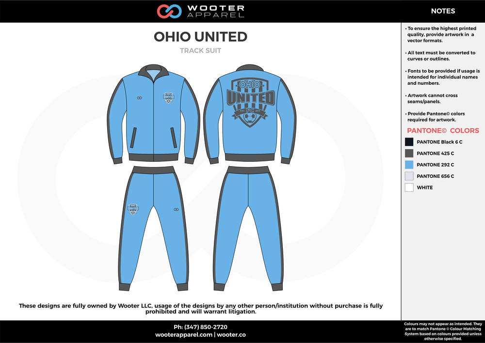 OHIO UNITED blue gray custom sublimated soccer uniform jersey track suit