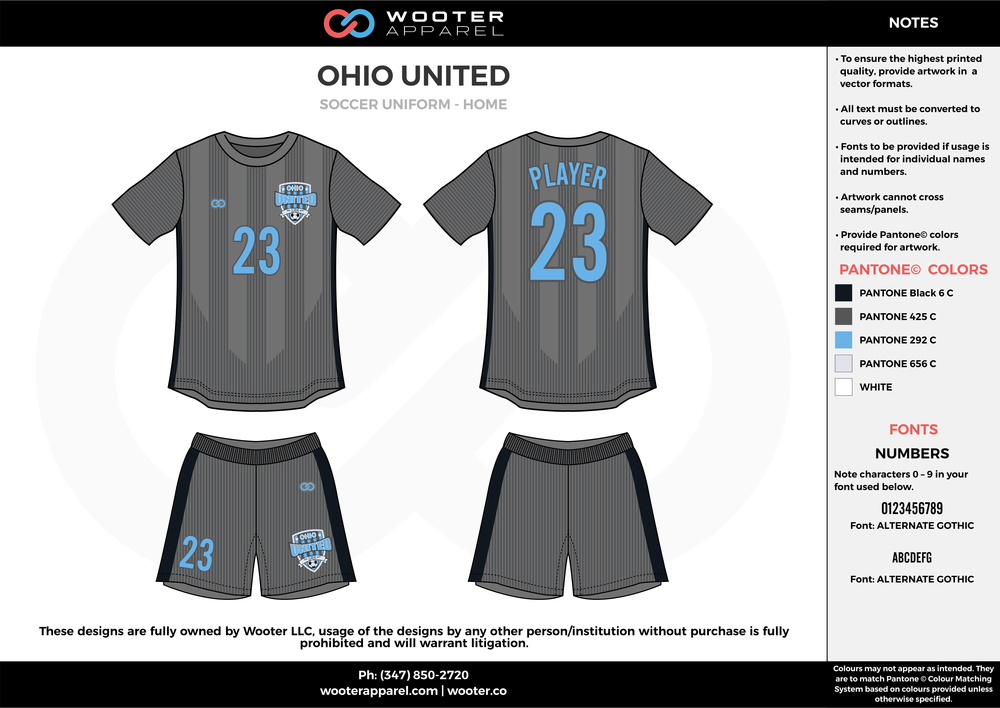 OHIO UNITED gray black blue custom sublimated soccer uniform jersey shirt shorts