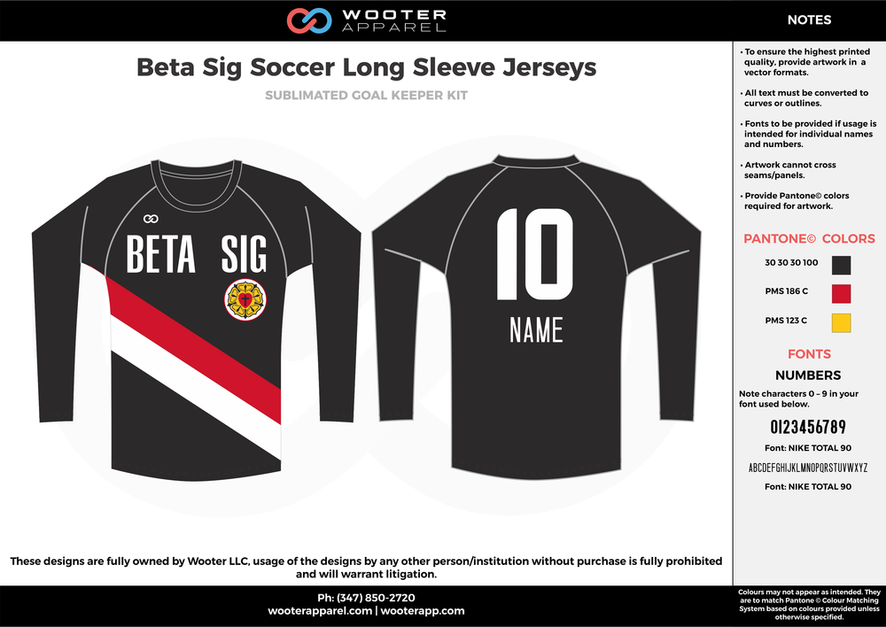 Beta Sig black red white custom sublimated soccer uniform jersey long sleeve