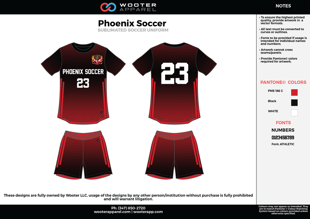 Phoenix black red white custom sublimated soccer uniform jersey shirt shorts